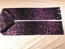 Dark Purple Varigated Leopard Skin Fleece Scarf Animal Print