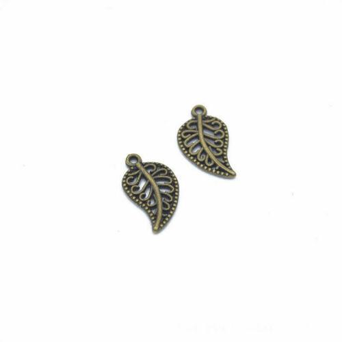 140 Pcs Silver Leaf Charms Pendant Connector DIY Metal Bracelet Jewelry Findings