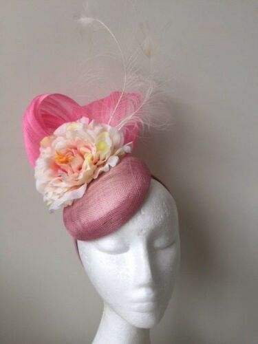 NEW pink fascinator with silk abaca loops, flower and feathers on a headband.