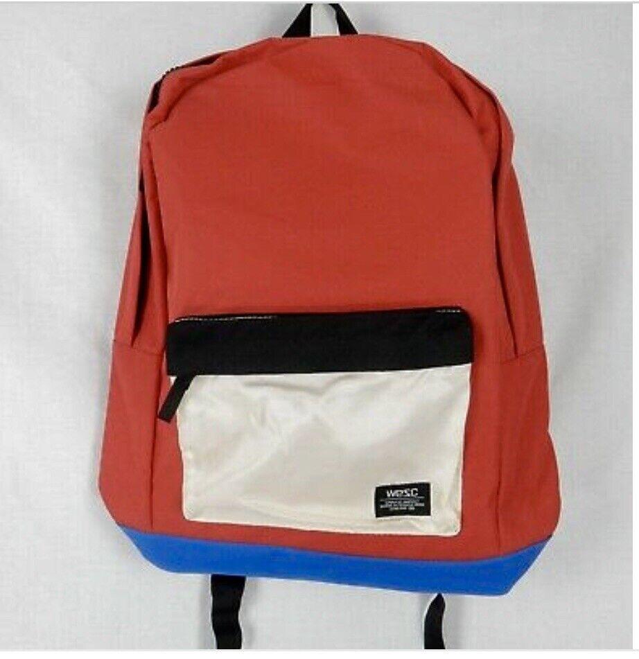 ! nuevo! Wesc Rojo Blanco Azul Diseñador Cremallera Unisex Backpack Chaz recubierto