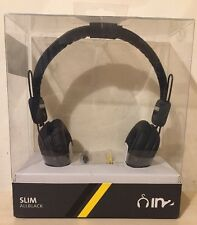 Unisex Black Headphones With Microphone Iphone Blackerry Samsung Nokia -BOXED!