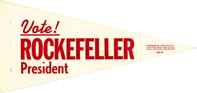 1964 Nelson Rockefeller for President Car Antenna Flag (3508)