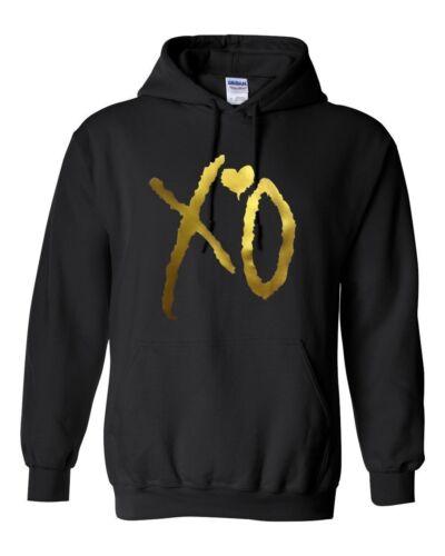 XO il weeknd GOLD XO Felpa con Cappuccio Unisex di Qualità Superiore
