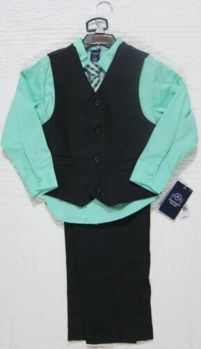 NEW JONATHAN STRONG BOYS 4 PIECE SUIT SET BLACK LIGHT GREEN SIZE 5 OR 6 NWT $48