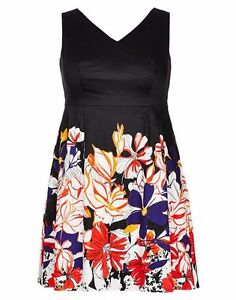 Autograph-Black-Tulle-lined-floral-print-dress-Size-26-NEW-zip-back-V-neck