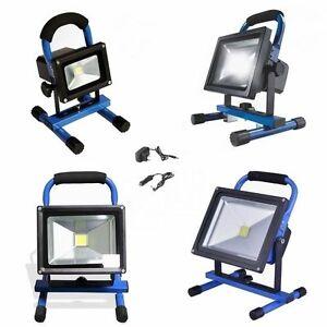 10w 50w blau led akku strahler arbeitsleuchte baustrahler fluter handlampe ebay. Black Bedroom Furniture Sets. Home Design Ideas