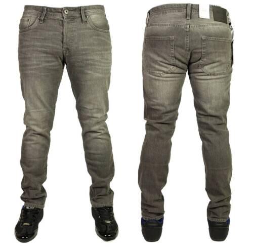 Da Uomo Jack /& Jones Jeans in denim grigio slim fit Designer Gamba Dritta Pantaloni