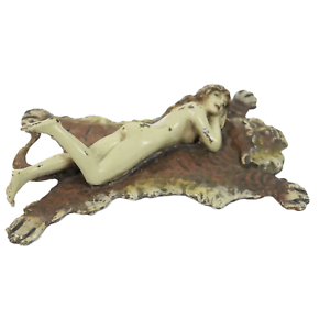 1-Rare-Franz-Bergman-Cold-Painted-Bronze-Erotic-Nude-Lady-Reclining-On-Tiger-Rug
