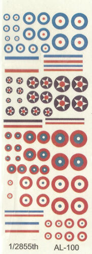 British and French AL-100 US WWI Roundels 1//300 Decals