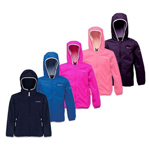 Regatta Lever Girls Hooded L/'weight Waterproof Breathable Jacket