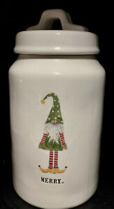 Rae-Dunn-Artisan-Collection-MERRY-ELF-Canister-Jar-Container-EUC