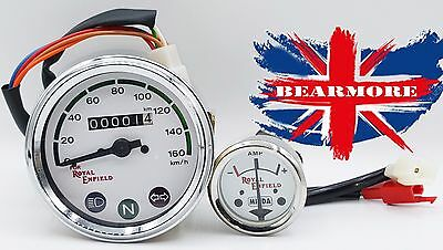 ROYAL ENFIELD BULLET SPEEDOMETER 0-160 Km//h /& AMP METER WHITE DIAL FACE @UK