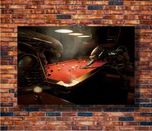 T2279 20x30 24x36 Silk Poster Alien VS Predator Play Billiard Classic Art Print