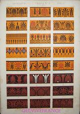 LITHOGRAVURE Owen JONES - GRAMMAIRE DE L'ORNEMENT 1868 Planche XVI - GRECS