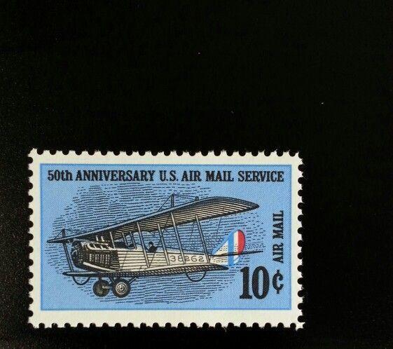 1968 10c Air Mail Service, 50th Anniversary Scott C74 M