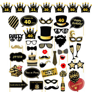 16-18-21st-30-40-50-60th-36PCS-Birthday-Party-Photo-Booth-Props-On-Stick-Selfie