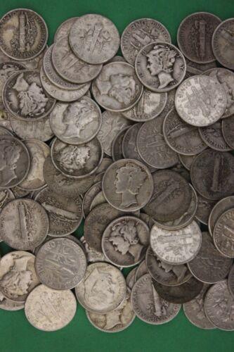 MAKE OFFER 9 Troy Ounces Mercury /& Roosevelt Dimes Junk Coins 90/% Silver Coins