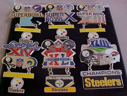 SET OF 6 PITTSBURGH STEELERS SUPER BOWL CHAMPS HANGING CHAMPS PINS