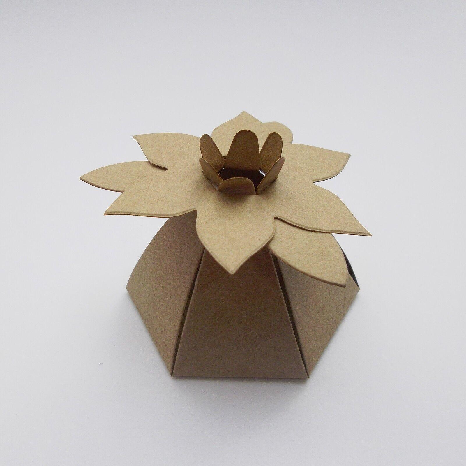 Marronee kraft matrimonio con fiore scatole di favore-Scegli favore-Scegli favore-Scegli La quantità-Addio al Nubilato a4a27f