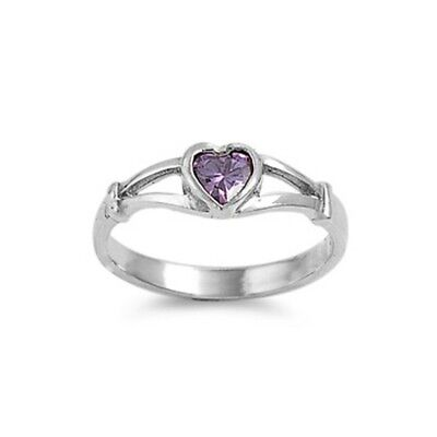Sterling Silver ring size 4 CZ Kids Heart Midi Knuckle Amethyst Ladies New b03a