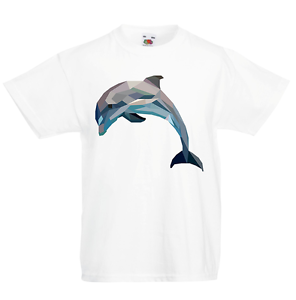 Dolphin Geometric Kid/'s T-Shirt Children Boys Girls Unisex Top
