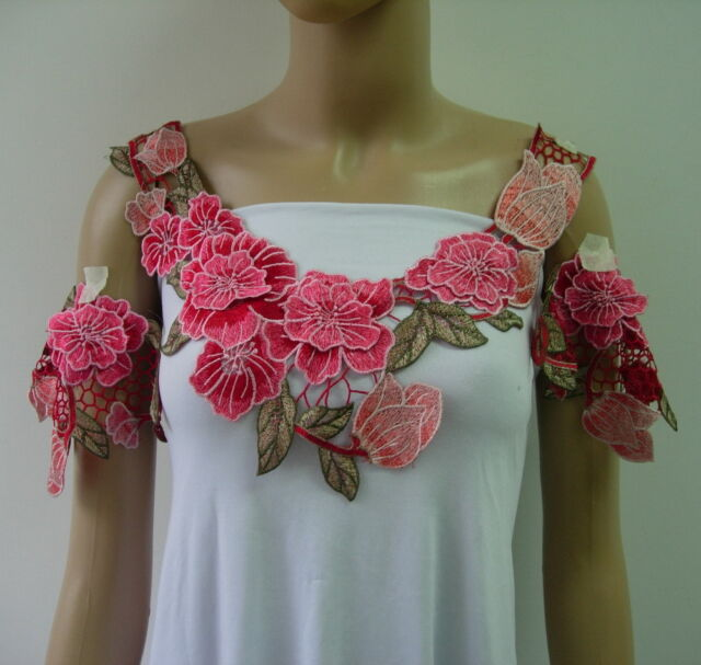 VK443 Layered Floral Trendy Collar Epaulette Venise Applique Set Peach Red Tone