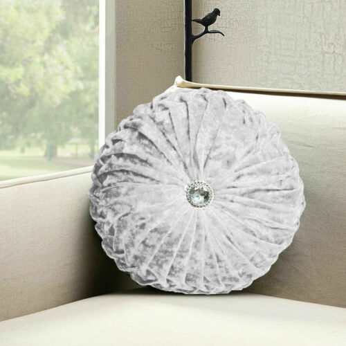 New Crushed Velvet Round Cushion Filled Small /& Large Stitched with Diamond