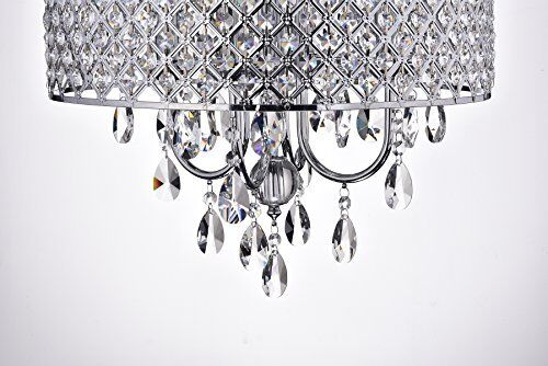 Chandelier Ceiling Fixture with Crystal Hanging Chrome Finish Drum Shade Round