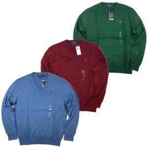 NWT-Polo-Ralph-Lauren-Men-039-s-V-Neck-Sweater-100-Cotton-S-M-L-XL-XXL