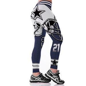 timeless design 9f36f 7da3e Details about Women NFL Dallas Cowboys Fans No 21 Jogging Pants Yoga Game  GYM Fitness Leggings