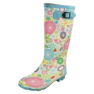 Ladies-X1069-Multi-coloured-flower-pattern-rubber-wellington-boot-By-Spot-On
