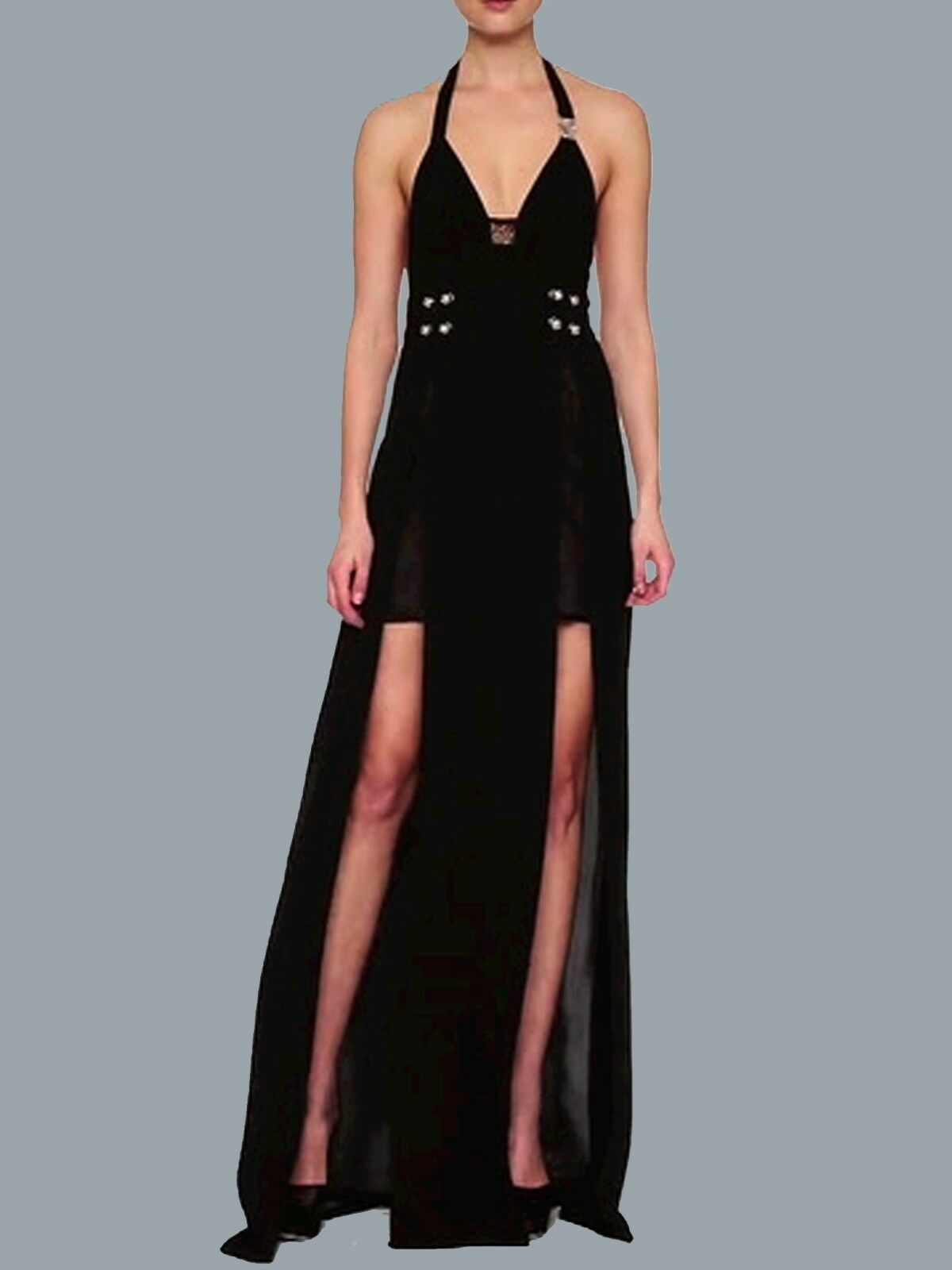 Versace Versus Black Halter Maxi Dress as Seen on Irina Shayk | eBay