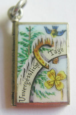AUSTRIAN ANTIQUE SILVER ENAMEL WINTER WONDERLAND LOCKET CHARM Unforgettable Days