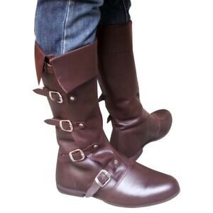 MEDIEVAL LEATHER BOOTS RENAISSANCE FOOTWEAR VIKING SHOE MENS BROWN LONG SHOES