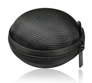 SMALL MESH HARD ZIP ROUND CIRCLE CARRY CASE POUCH FOR HEADPHONES EARPHONES