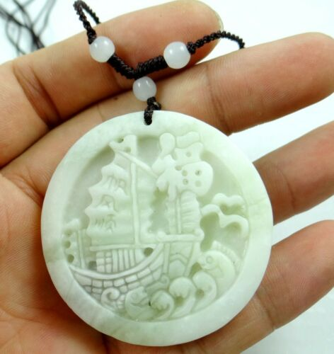 50*50MM100/%Chinese natural jade hand-carved the statue of yifanfengshuen PENDANT