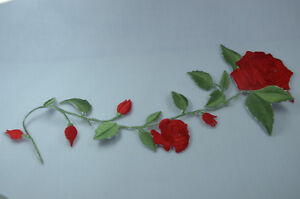 25cm-RED-ROSE-STEM-TRIMMING-Embroidered-Sew-Iron-On-Cloth-Patch-Badge-APPLIQUE