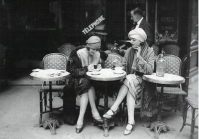 Vintage Black White Photo Paris cafe 1920 Print Poster for glass frame