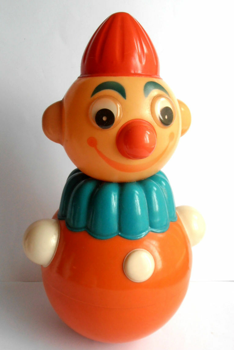 1950 -talets Sovjet CELULOID Roly -Poly leksak Doll ClågN
