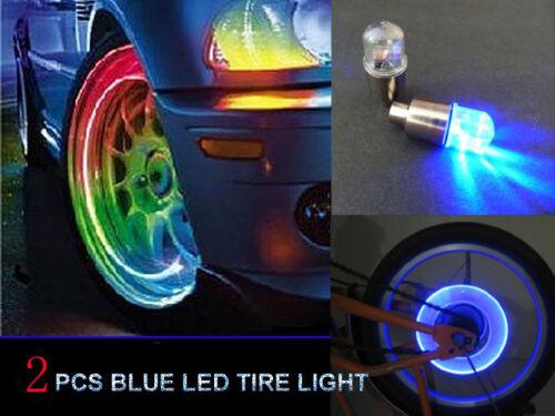 2pcs Blue LED Tyre Tire Valve Caps Neon Light Bike Car motorcycle