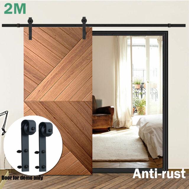 2M Sliding Barn Door Hardware Kit Smooth Closet Track Set Interior Bedroom Home