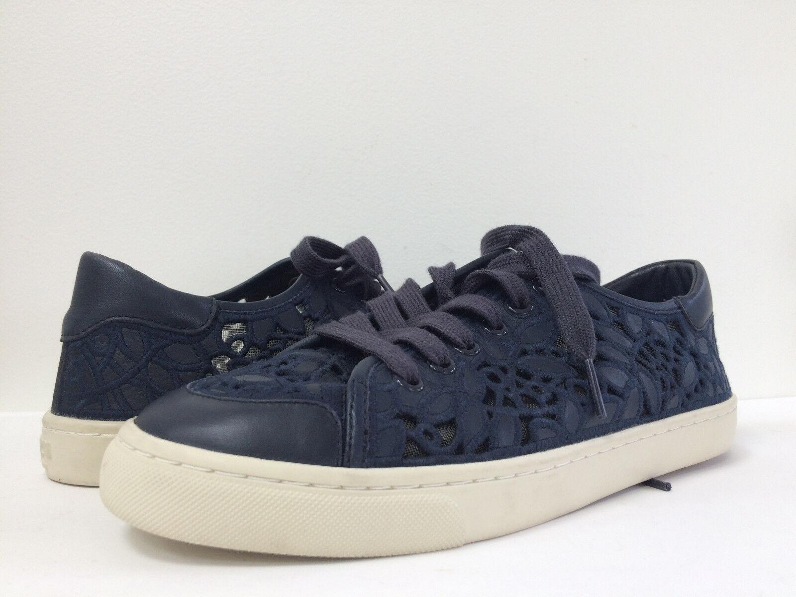 New Tory burch Mesh Rhea Embroidery Leder Lace Mesh burch Sneaker Tori Navy Sz 8.5M 9.5M df4e63