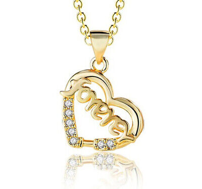 """18k Yellow Gold Womens Heart Pendant With 30/"""" Link Chain Necklace w Gift Pk D740"""
