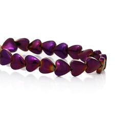 30 X Grade A Hematite Purple Heart Beads 6 X 6 mm