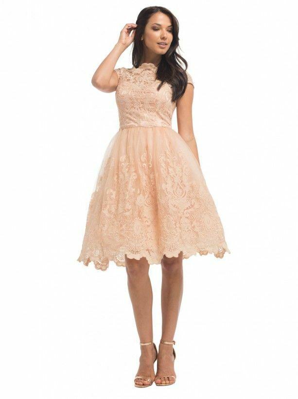 Chi Chi London Kourtney Dress Peach Blaush Größe UK 16 rrp  DH092 NN 06