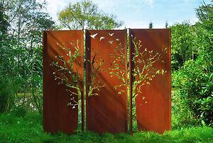 Gartenwand Sichtschutz Wand Triptychon Baum Stahl Rost 225x195 Cm Ebay