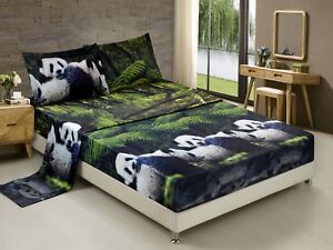 HIG-3D-Sheet-set-4-Pieces-Panda-Mom-And-Kids-In-Forest-Printed-Sheet-Sets