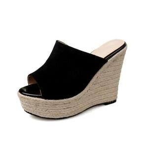 Womens Summer Straw Weaving Sole Wedge Platform Peep Toe Mules Heels Sheepskin