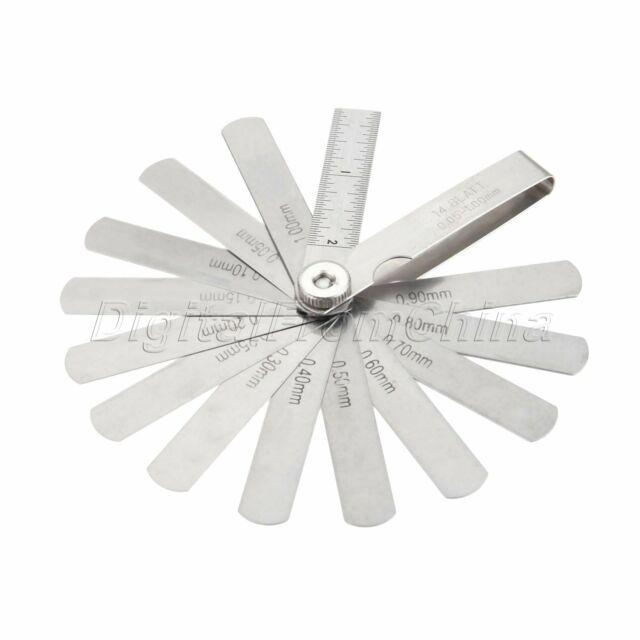 0.05-1mm 14 Blade Thickness Gap Metric Filler Feeler Gauge Steel Measure Tool