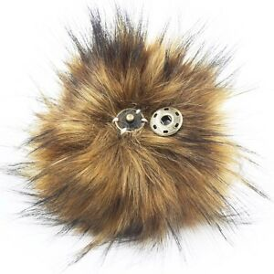 312ec9af770 1X Faux Fox Fur Pom Pom with Press Button Fake Fur Hat Bubble Removable